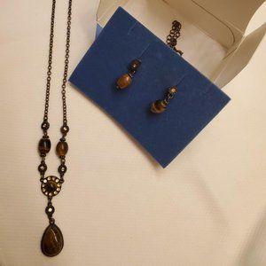 #388 Avon Tiger's Eye Y necklace/earring set